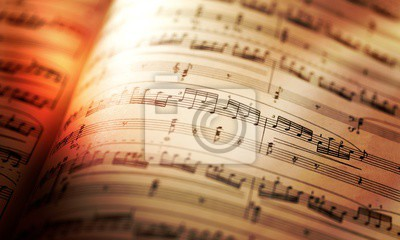 Plakat Sheets with music notes close-up on sunlight
