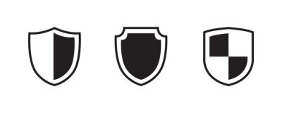 Plakat Shield, protect, defend, safeguard, guard icon set. Vector graphic illustration. Suitable for website design, logo, app, template, and ui.