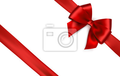 Plakat Shiny red satin ribbon on white background. Vector red bow and ribbon