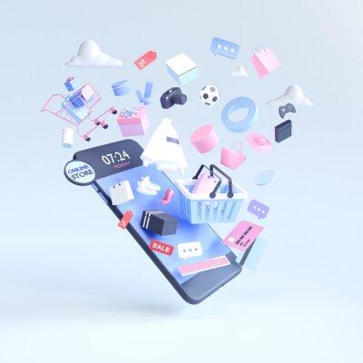 Plakat Shopping on-line. Online store on website or mobile application. 3d rendering background. digital marketing shop