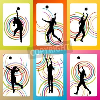 Plakat Siatkarz kobieta wektora tle zestaw koncepcji plakatów