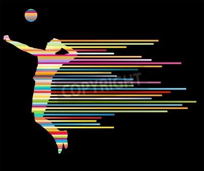 Plakat Siatkarz sylwetka wektor tle koncepcji z paskami