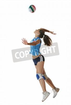 Plakat siatkówka gry sportowe z neautoful młodej dziewczyny oslated onver białym tle