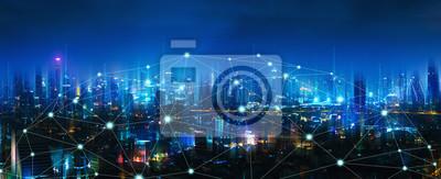 Plakat Sieć bezprzewodowa i miasto połączeń