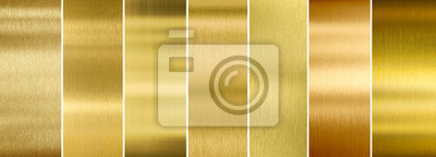 Plakat Siedem różnych zestawów tekstury szczotkowanego złota metalu