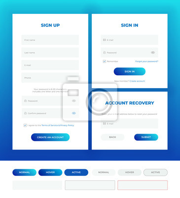 Plakat Sign in, sign up, account recovery. Login forms with web elements in different style.