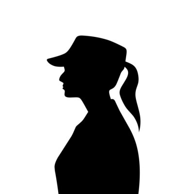 Plakat Silhouette of a female soldier with hat from side view.