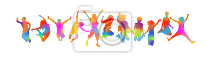 Plakat Silhouettes of jumping multicolored friends. Happy Friends Day. Usable as greeting cards, posters, clothing, t-shirt for your friends. Vector illustration