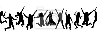 Plakat Silhouettes of many different jumping people, seamless pattern. Isolated on white background.