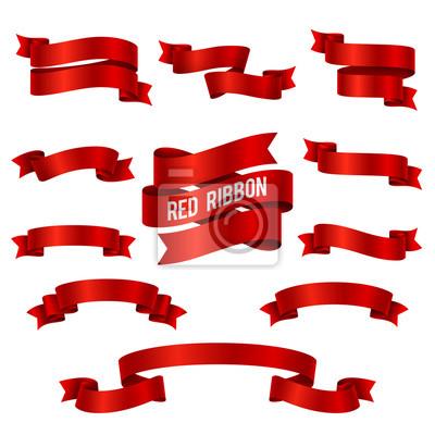 Plakat Silk czerwona wstążka 3d banery wektorowe zestaw izolowane