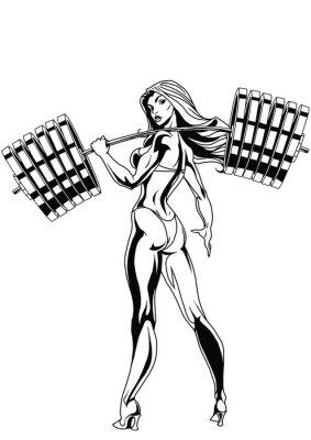 Plakat Silna dziewczyna z ciężkim sztangą