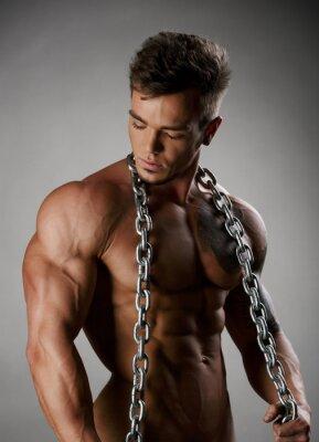Plakat Silny sportowiec z idealne ciało pozowanie nago