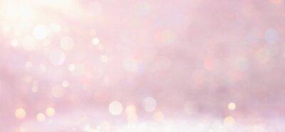 Plakat silver and pink glitter vintage lights background. defocused