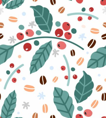 Plakat Simple hand drawn vector illustration of coffee plant branches with leaves and berries, Trendy scandinavian naive handdrawn sketch style. Good for print warraping paper or fabric textile.