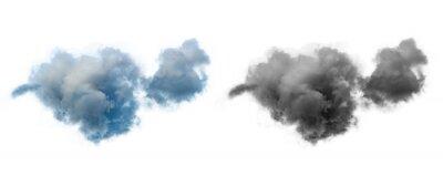 Plakat single dramatic looking blue rain cloud on white background with luma mask.