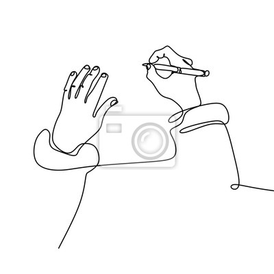 Plakat Single one line drawing of hand writing with a pen on paper vector illustration hand drawn minimalism