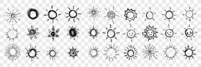 Plakat Sketch, hand drawn sun, stars set collection