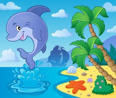 Plakat Skoki delfinów motywu obrazu 4