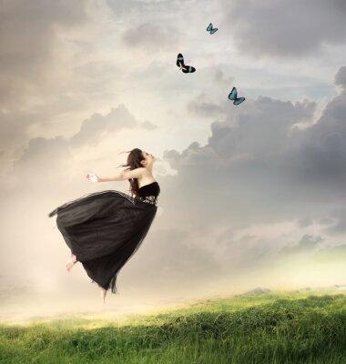 Plakat Skoki Dziewczyna w chmurach