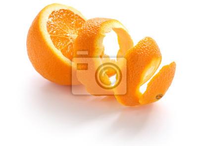 Plakat skórka pomarańczowa, skórka pomarańczowa, na białym tle