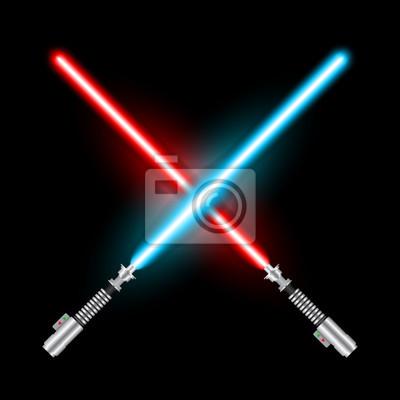 Plakat Skrzyżowane miecze świetlne Jedi na podstawie filmu Star War.