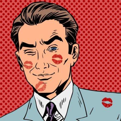 Plakat Ślady pocałunku na twarzy człowieka sztuki retro pop