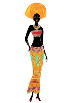 Plakat Slender beautiful African-American lady. The girl has bright clothes, a turban on her head. The woman is slender and beautiful. Vector illustration