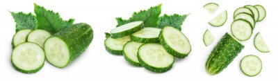 Plakat Sliced cucumber isolated on white background. Set or collection