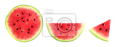 Plakat Slices of summer watermelon, whole round, half and piece isolated on a white background