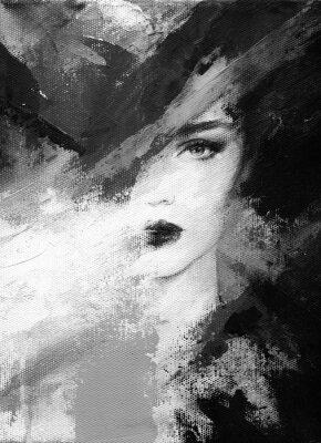Plakat śliczna kobieta. ilustracja mody. Malarstwo akwarelowe