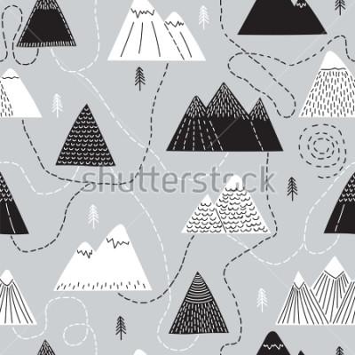 Plakat Śliczna ręka przedstawiona wzorem wzoru z góry i górami. Twórczy skandynawski las tło. Las. Stylowy szkic. Ilustracji wektorowych