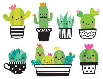 Plakat Śliczna tłustoszowata lub kaktusowa roślina z szczęśliwej twarzy wektorowym ilustracyjnym setem.