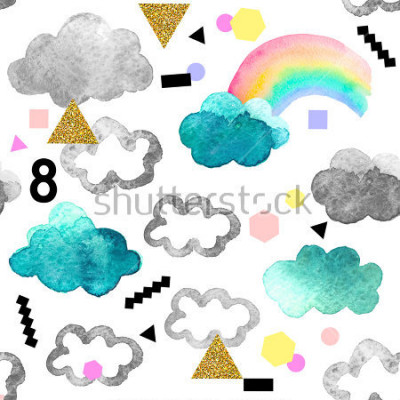 Plakat Śliczne chmury akwarela z elementami tęczy i złoto świecidełka. Bezszwowy wzór z akwarela przedmiotami odizolowywającymi na białym tle dla twój projekta: tkanina, tkanina, pocztówka.