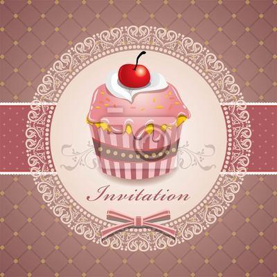Plakat Śliczne cup cake j ze wzoru koronki