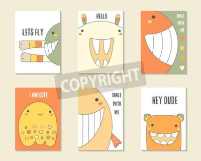 Plakat Śliczne wyciągnięte ręcznie daktyle urodziny, karty imprezowe, broszury, zaproszenia z potworami, zabawne stworzenia, króliki, wieloryby, duchy. Cartoon znaków tła. Zestaw szablonów do druku