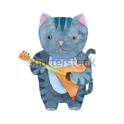 Plakat Śliczny akwarela kot bawić się bałałajkę lub gitarę