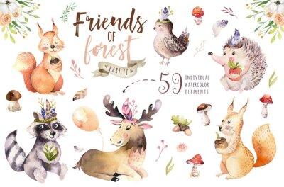 Plakat Śliczny akwareli dziecka kreskówki czeski jeż, wiewiórka i łosia zwierzę dla nursary, las odizolowywająca lasowa ilustracja dla dzieci. Króliki zwierząt.