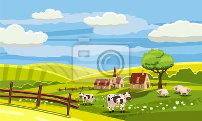Śliczny wiejski krajobraz z gospodarstwem rolnym, krowa, kwiaty, wzgórza, wioska, kreskówka styl, wektor, odizolowywający