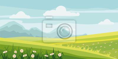 Śliczny wiejski krajobrazowy drzewo, pole, stokrotka kwiaty, kreskówka styl, wektor, ilustracja, odizolowywająca