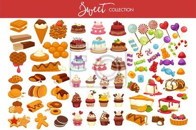 Plakat Słodka kolekcja smacznych deserów i słodyczy