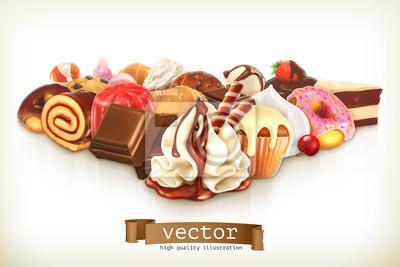 Plakat Słodki deser z czekolady, słodycze ilustracji wektorowych