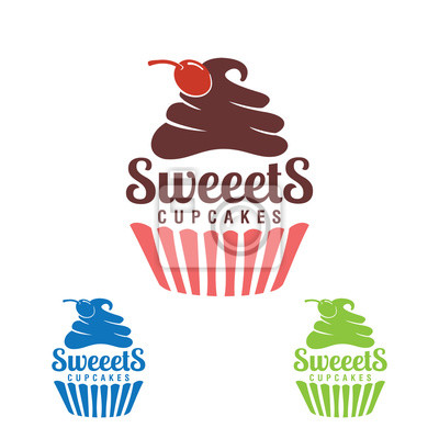 Plakat słodkie ciastko, piekarnia logo