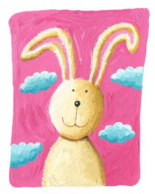 Plakat Słodkie królik na różowym tle