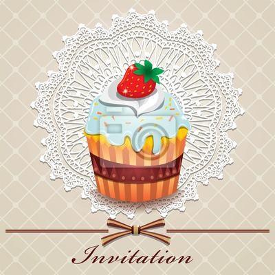 Plakat Słodkie szablon Cupcake
