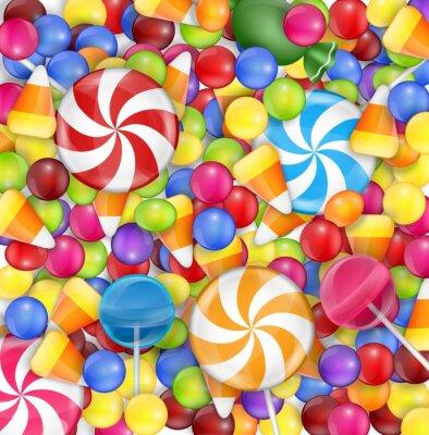 Plakat Słodycze tła z lizak, cukierek kukurydza i gumballs