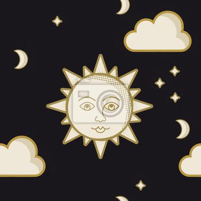 Słońce na czarnego nocnego nieba wektorowym ilustracyjnym tle