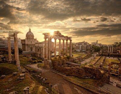 Plakat Słynne rzymskie ruiny w Rzymie, stolicy Włoch