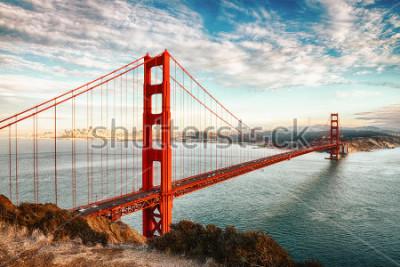 Plakat słynny najbardziej Golden Gate, San Francisco w nocy, Stany Zjednoczone Ameryki