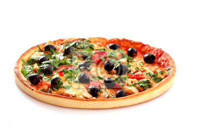 Plakat smaczne Pizza z oliwek samodzielnie na białym tle