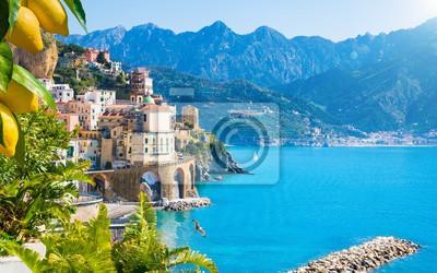 Plakat Small town Atrani on Amalfi Coast in province of Salerno, Campania region, Italy. Amalfi coast is popular travel and holyday destination in Italy.